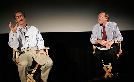 "When Chicago Booth hosted a private screening of the film Freakonomics in late 2010, Prof. Harry Davis (right) noted that the sold-out crowd of about 400 of Steven Levitt's devoted fans were like ""the following of the Grateful Dead."" (Photo By Beth Ro"