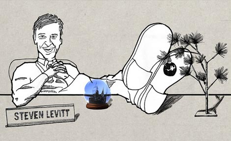 caricature of Steven Levitt