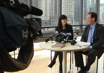Jenna Jordan and Prof. Robert Pape address the Chicago media at a May 2 news conference, in which they pondered the effect of Osama bin Laden's death on the U.S. war on terrorism