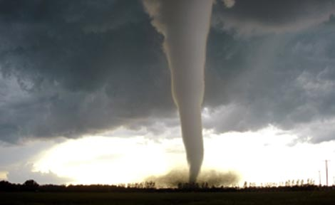 A devastating tornado, packing 200-mile-per-hour winds, spins in the Canadian province of Manitoba