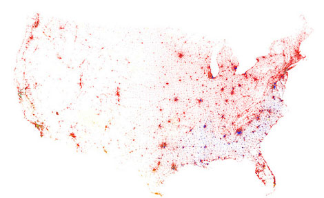 A visualization using data from the 2010 U.S. Census (One dot for each 500 residents; red is white, blue is black, green is Asian, orange is Hispanic, yellow is other). (Image courtesy of Eric Fischer)