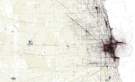 "Eric Fischer's first big web success was his ""Geotaggers Atlas,"" which mapped which pictures in a city are taken by locals and which by tourists. It uses the photo locations from the public Flickr and Picasa search functions. (Image courtesy of Eric F"