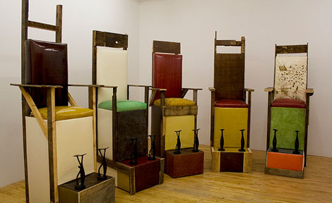 "Installation view of ""Shoe Shine Stands"" (2010) (Photo courtesy of Kavi Gupta CHICAGO)"