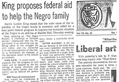 King proposes Federal Aid to help the Negro family