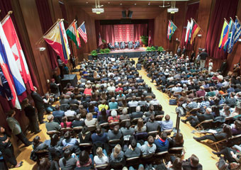 "The University's International House Assembly Hall is filled to capacity on Thursday, Jan. 19 for the panel discussion, ""2012: The Path to the Presidency."""