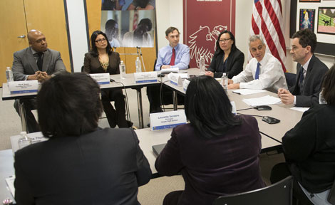Rahm Emanuel and school officials