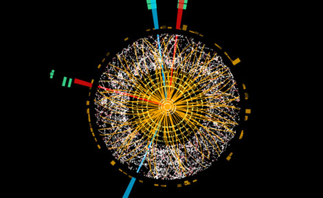 The ATLAS experiment recorded this candidate Higgs decay to four electrons in 2012.