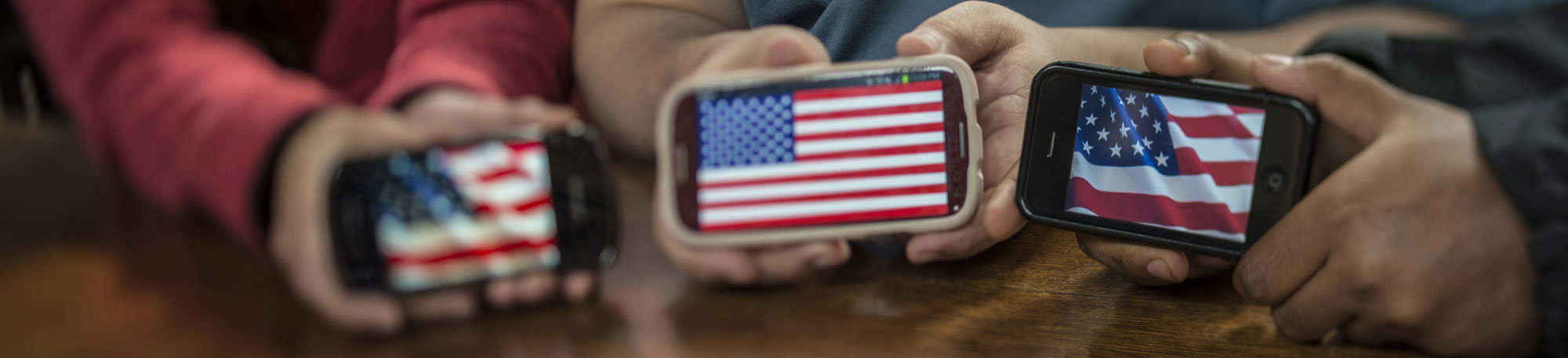 smart phones with american flags