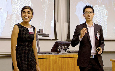 Sonia Chokshi and UChicago student Patrick Ip of Kip Solutions
