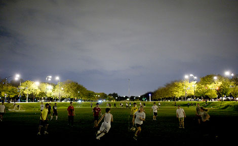 Midnight soccer on the Midway Plaisance