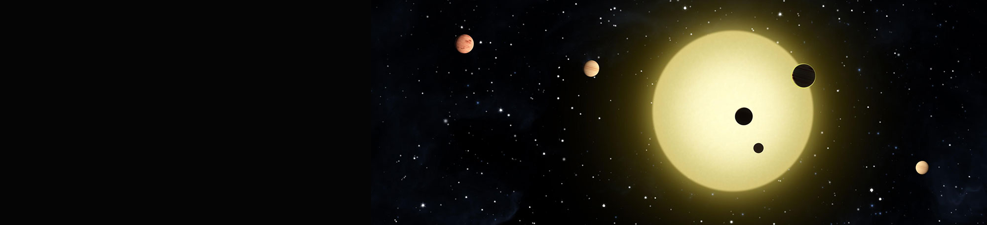 This artistic rendering depicts Kepler-11, which has six stars in tight orbit around it.