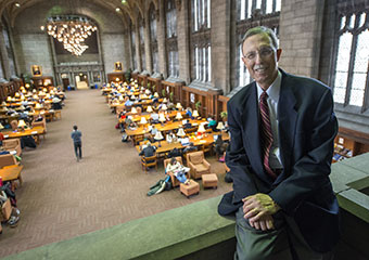 John W. Boyer, Dean of the College, overlooks the Cathey Learning Center in Harper Memorial Library