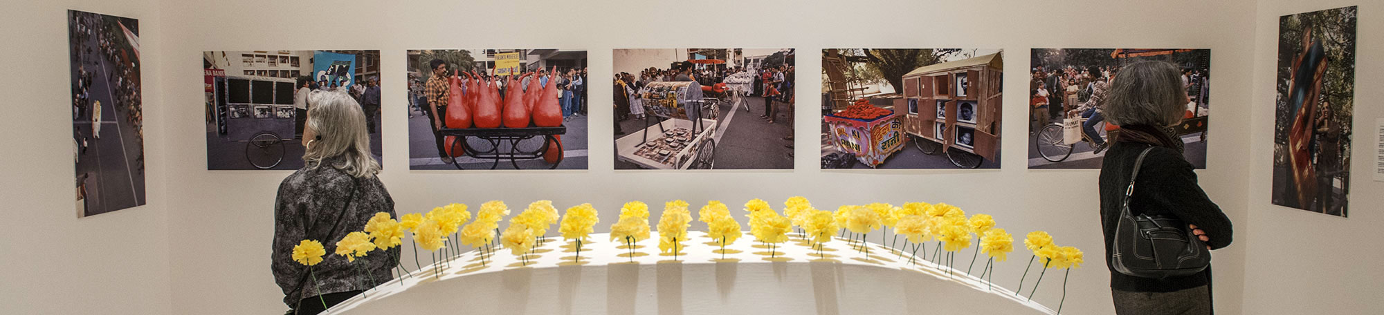 """Patrons view """"The Sahmat Collective: Art and Activism in India since 1989"""" on display at the Smart Museum of Art"""