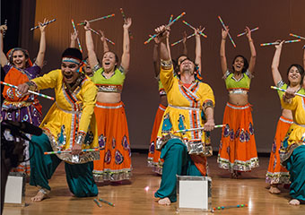 UChicago students perform a lively, colorful dance during dress rehearsal for the South Asia Student Association (SASA) Spring show at Mandel Hall