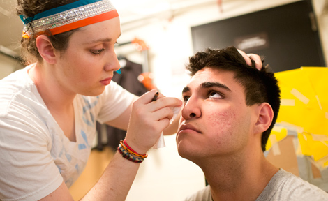 Student receives makeup before SASA show