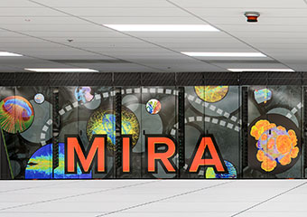 A colorful mesh mural covers the Mira supercomputer at Argonne National Lab
