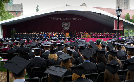 Main Quad at UChicago during Convocation 2012