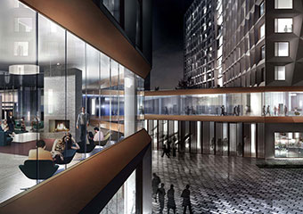 Architectural rendering of the new UChicago residence hall and dining commons.