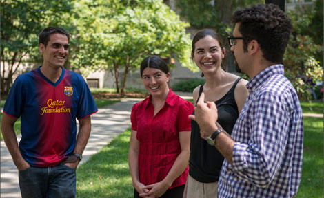 UChicago grad students chat on the quad