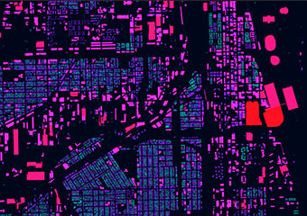A portion of a data visualization of every building in Chicago, color coded by the size of each building's footprint area.