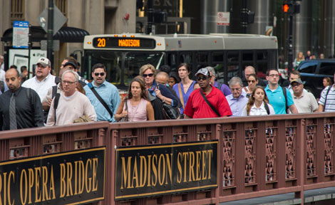 Commuters in downtown Chicago