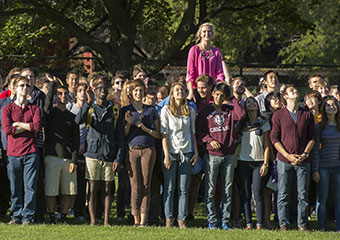 First-year students gather for a Class of 2017 portrait on North Field.