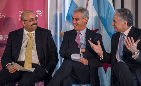 UChicago President Robert Zimmer speaks with Sunil Kumar and Rahm Emanuel