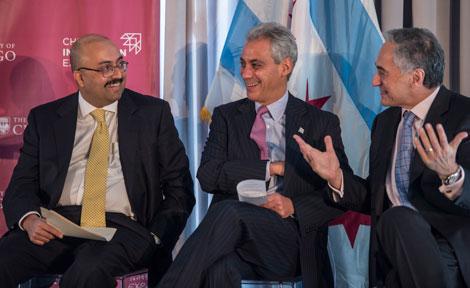 UChicago President Robert Zimmer speaks with Sunil Kumar and Rahm Emanuel