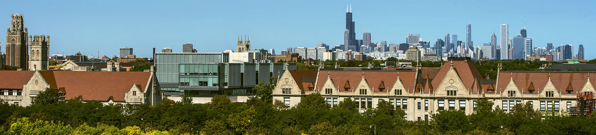 Chicago skyline and a portion of the University of Chicago campus, viewed from the roof of 6045 S. Kenwood Ave.,