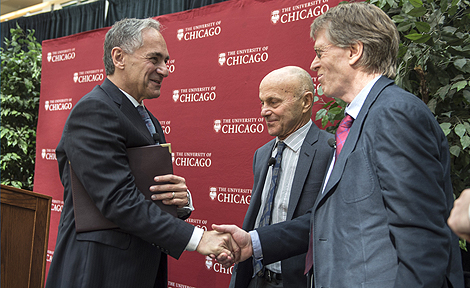 UChicago President Robert Zimmer with Eugene Fama and Lars Hansen