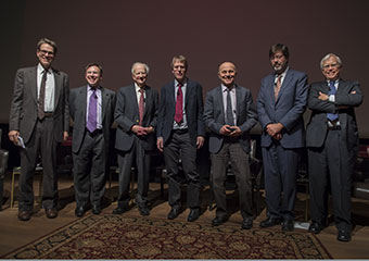 Panelists from left: John Cochrane; Tobias Moskowitz; Gary Becker; Lars Peter Hansen; Eugene F. Fama; John Heaton; and James Heckman.