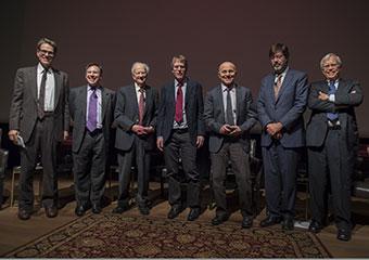 Panelists from left: John Cochrane; Tobias Moskowitz; Gary Becker; Lars Peter Hansen; Eugene F. Fama; John Heaton; and James Heckman.