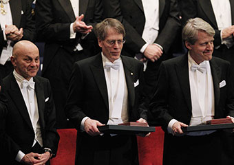 The 2013 Nobel Prize Laureates in Economic Sciences from left: UChicago's Eugene F. Fama; Lars Peter Hansen; and Robert J. Shiller