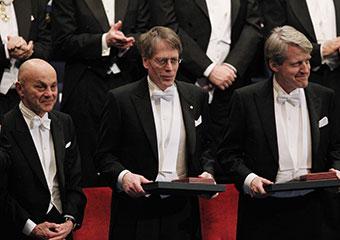 The 2013 Nobel Prize Laureates in Economic Sciences from left: UChicago's Eugene F. Fama; Lars Peter Hansen; and Robert J. Shiller