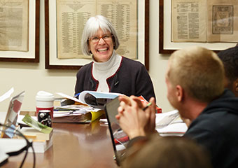 Margaret Mitchell, dean of the University of Chicago Divinity School, teaches class at Swift Hall.