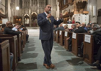 Massachusetts Gov. Deval Patrick, a South Side native, delivers the keynote address at the University of Chicago's Martin Luther King Celebration in Rockefeller Memorial Chapel.