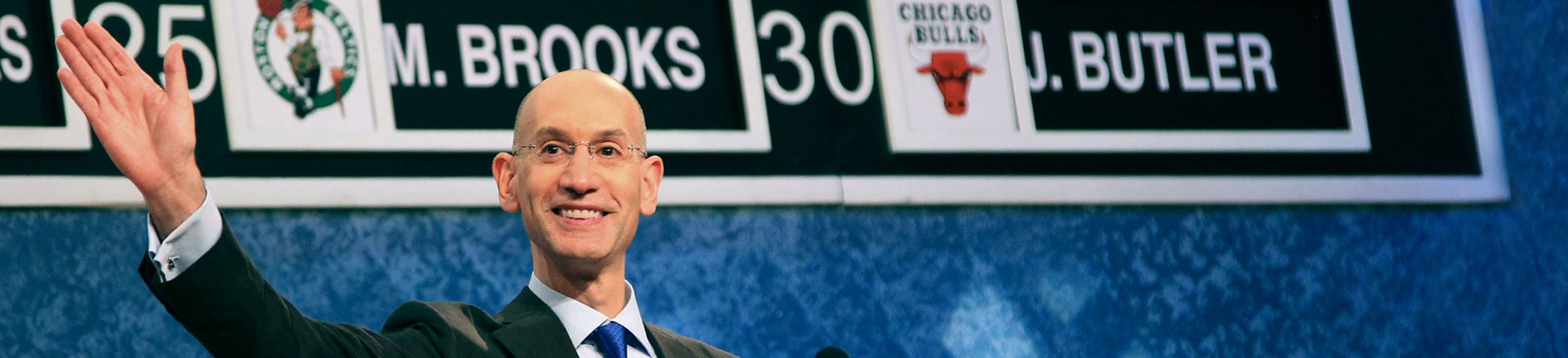 NBA Deputy Commissioner Adam Silver addresses the crowd at the conclusion of the 2011 NBA Draft in Newark, New Jersey