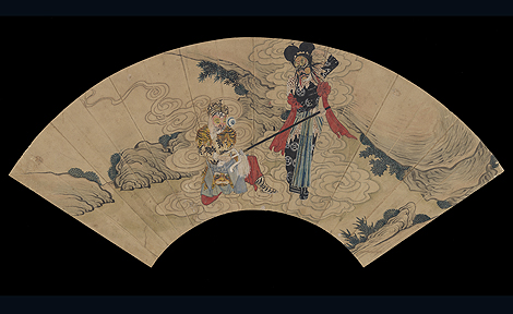 Fan painting with Peking Opera scene