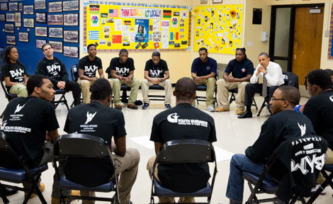 President Obama with BAM students