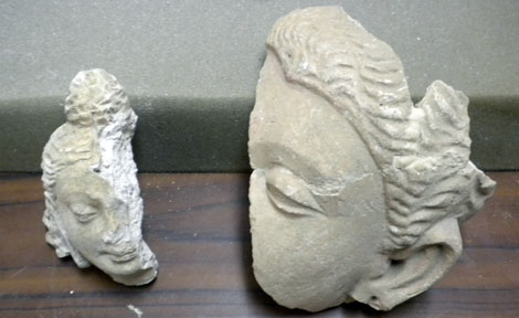 Damaged Buddhist sculpture