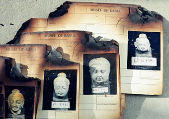 Damaged relics at Afghan National Museum