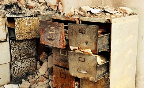 Damaged files at National Museum of Afghanistan