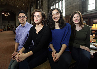 From left UChicago's Harry S. Truman Scholarship winners: Yusef Al-Jarani; Ava Benezra; Andrea Haidar; and Erin Simpson in Cathey Learning Center of the Harper Memorial Library.