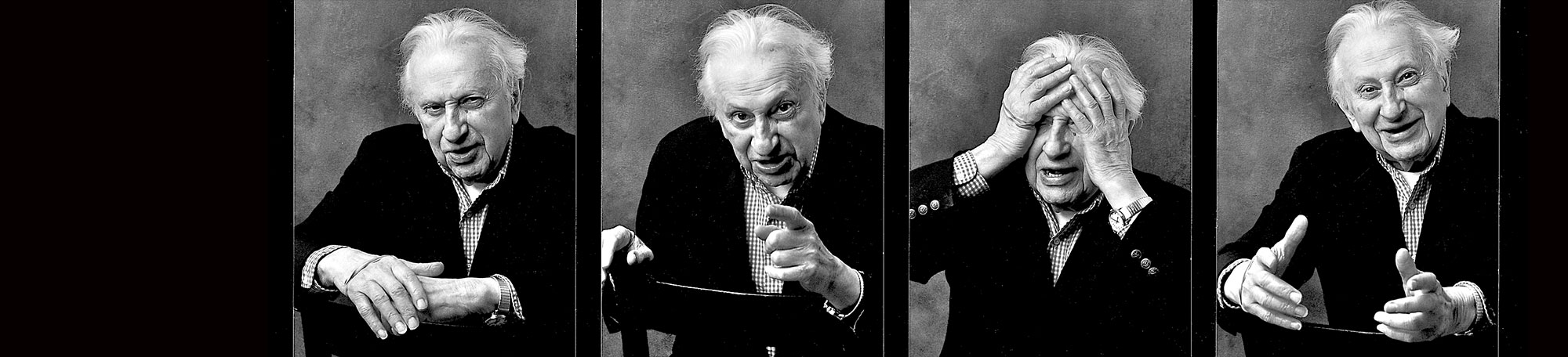 A strip of four fun portraits of author Studs Terkel by photographer Nancy Crampton © 2005.