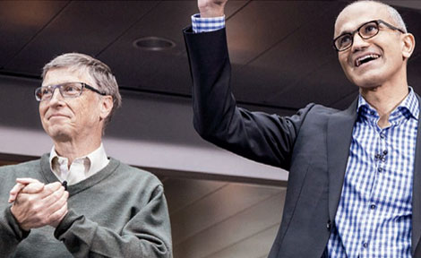 Bill Gates with new CEO Satya Nadella