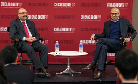 Chicago Booth Dean Sunil Kumar with alumnus Satya Nadella
