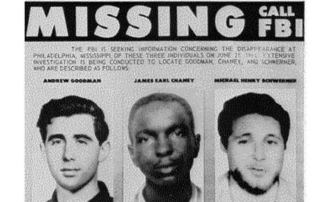 FBI poster of missing Freedom Summer volunteers