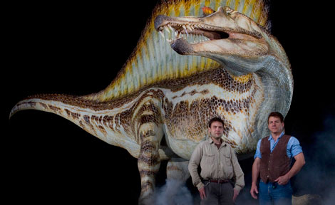 Nizar Ibrahim and Paul Sereno in front of Spinosaurus