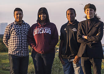 Incoming UChicago students from left: Higinio Vazquez; Jaeda Branch; Shelby Spence; Luke Clohisy out by 31st Street Beach