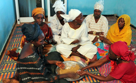Senegalese women in local marketplace